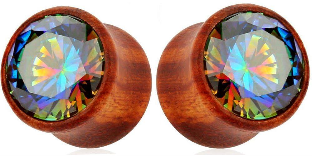 Ear gauges Wood with Rainbow Cubic Zirconia gem center double saddle ear plugs SoScene SLDRAINBCZ8