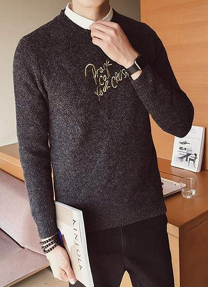 Fensajomon Men Embroidery Roundneck Casual Long Sleeve Slim Fit Pullover Sweater Jumper