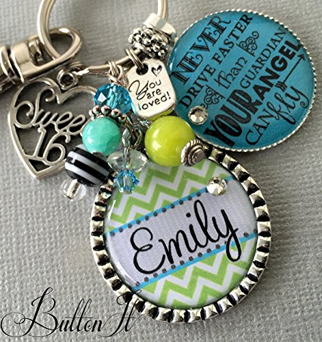 Sweet 16 key chain, Never drive faster than guardian angel can fly, birthday gift, 16th birthday gift for HER, personalized gift, daughter gift, niece gift, granddaughter gift, goddaughter by ButtonIt