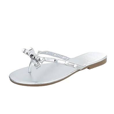 Cingant Woman Damen Sandaletten/Bequeme Damenschuhe/Flache Sohle/Sommerschuhe/Zehentrenner/Weiß, EU 37