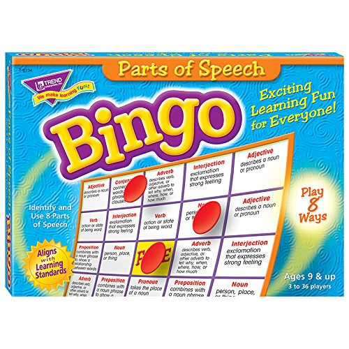 Trend Enterprises T-6134BN 3 Each Parts of Speech Bingo Game - Ages 8