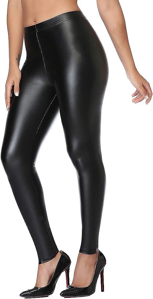 Damen Leggings Lederlook Legging Wet-Look Legings Hose schwarz mit Taschen