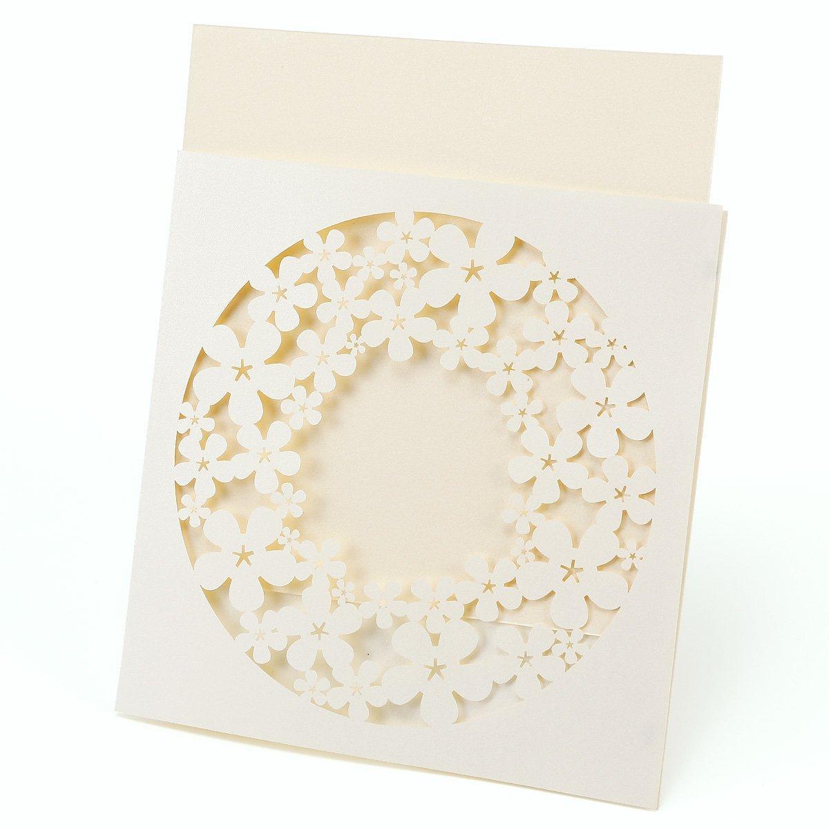 10x Laser Cut Ribbon Personalised Handmade Wedding Invitations Envelopes Seals