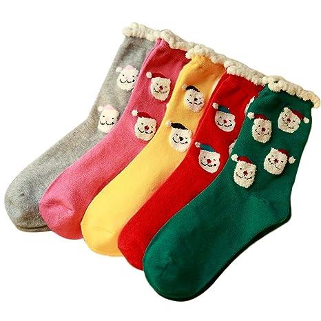 FlYHIGH Calcetines Mujer Navidad Papá Noel Estampado de algodón Calcetines Largos Crewed Knit Plush Top,