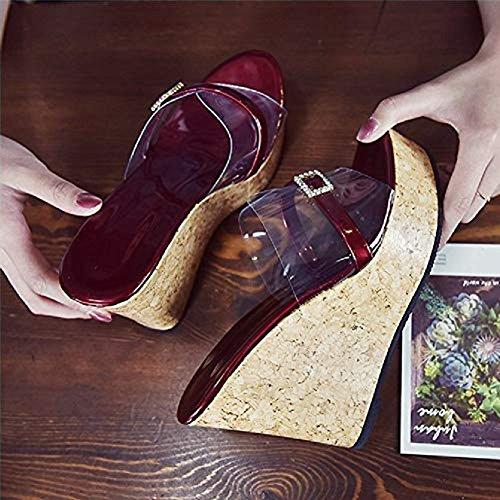 Diamond Sandals Dress Transparent JULY Slip Toe Peep Slides on Wedges Roman Sexy Red Shoes Women Platform T fnwtqHgqF
