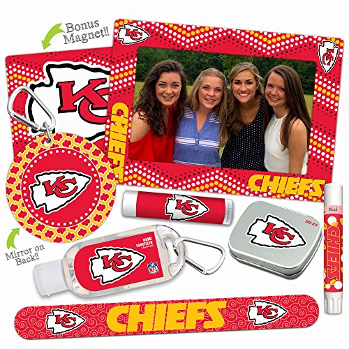 15% OFF—Kansas City Chiefs Deluxe Variety Set with Nail File, Mint Tin, Mini Mirror, Magnet Frame, Lip Shimmer, Lip Balm, Sanitizer. NFL Gifts and Gear for Women for Mother's Day, Stocking Stuffers