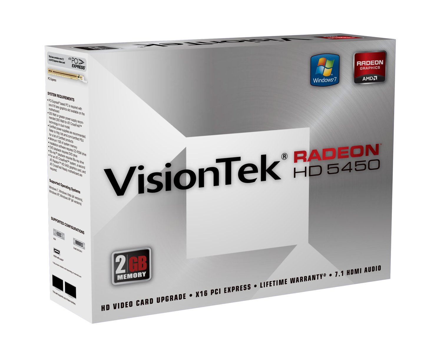 VisionTek Products, Llc - Visiontek 900356 Radeon Hd 5450 Graphic Card - 2 Gb Ddr3 Sdram - Pci Express 2.1 X16 - Crossfirex - Hdmi - Dvi - Vga ''Product Category: Video Cards/Graphic Cards''