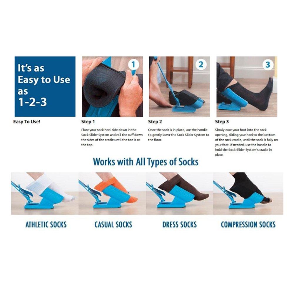 Easy On Easy Off - Sistema de calcetines sin dolor de calcetines y sin necesidad de doblar, estiramiento o entrenamiento que se empaqueta para un viaje ...