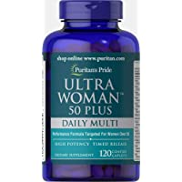 Puritans Pride Ultra Woman 50 Plus Multivitamin Caplets with Zinc, 120 Count, White