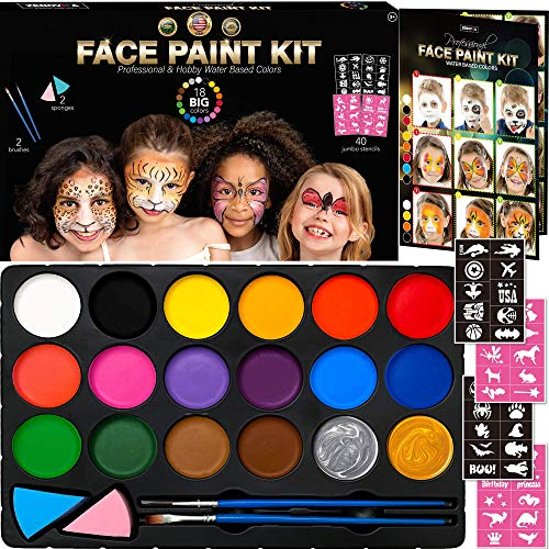 Face Paint Kit for Kids - 40 Jumbo Stencils, 18 Large Professional Water Paints, Brushes, Sponges, 2 Metallic Color - Safe Facepainting for Sensitive Skin, Halloween Makeup Supplies + Face Paint Book]()