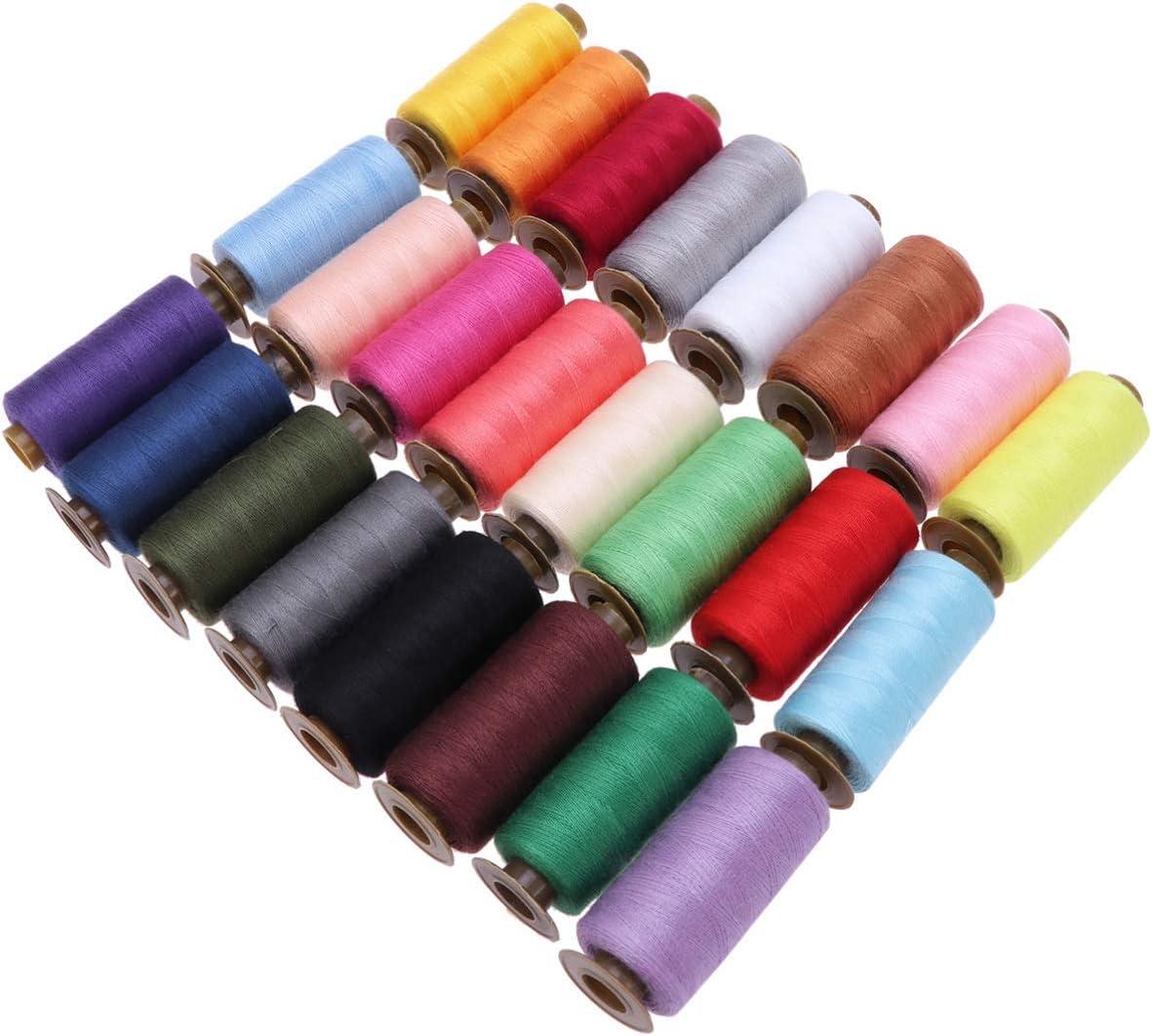 HEALLILY 24 bobinas de hilo de coser de poli/éster de 500 yardas para cortinas de tela coloridas