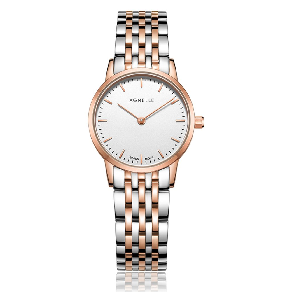 Women's quartz analog ultra-thin watches,Water resistant Classic Luxury Business Casual Mesh stainless steel Roman numeral Dress Wrist watch -C