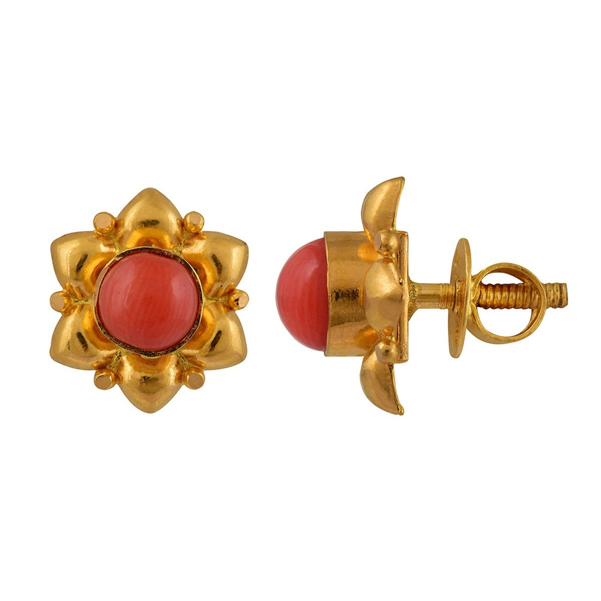 920b6aafa Buy WHP Jewellers 22k (916) Yellow Gold and Coral Stud Earrings Online at  Low Prices in India   Amazon Jewellery Store - Amazon.in