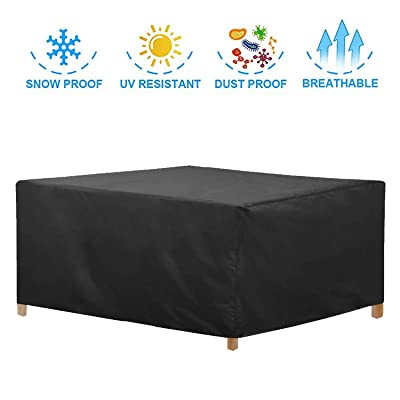"JJCKHE Rectangular Patio Furniture Cover, Heavy Duty 420D Waterproof Garden Cuboid Sofa Cover, Outdoor Table Chair Set Cover 78.7""x69""x27.5"" (Black) : Garden & Outdoor"