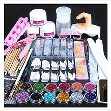 Nail Art Tools Kit Set, Kingfansion Acrylic Powder Glitter Nail Brush False Finger Pump