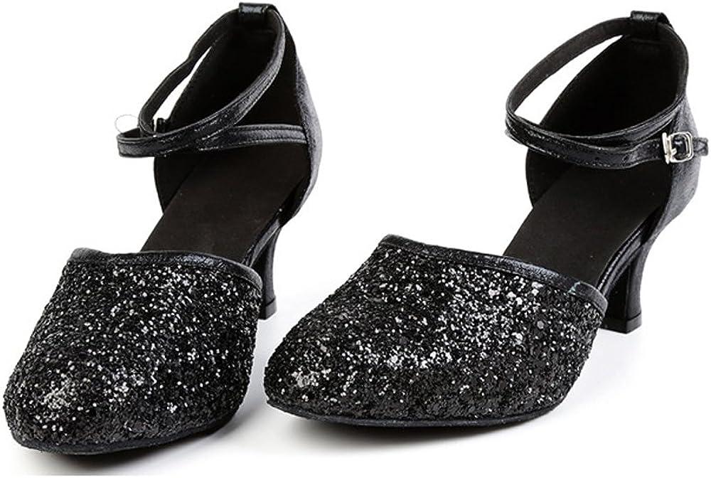 OCHENTA Womens Sequined Leather Pointed Toe Kitten Heel Latin Ballroom Dance Shoes