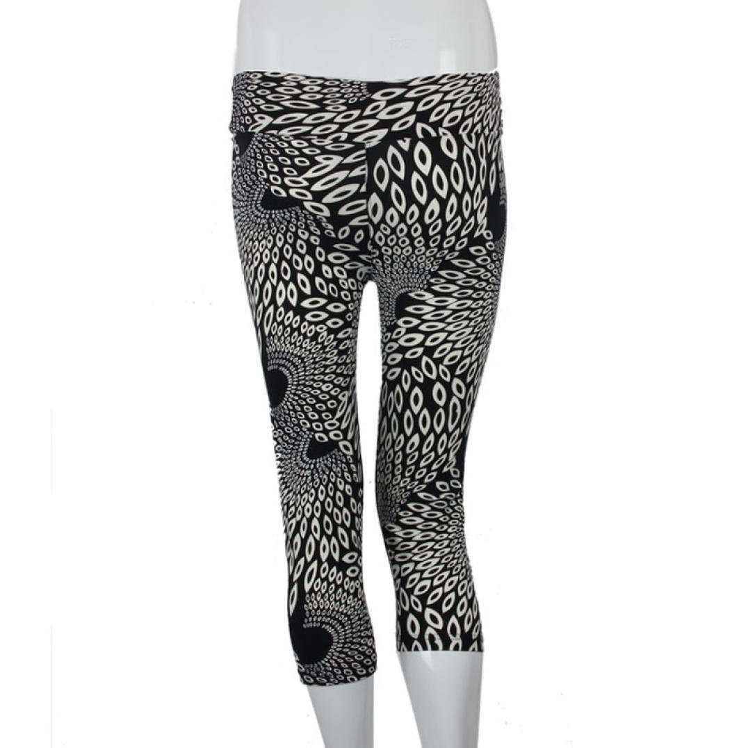 Ouneed Women Sports Trousers Fitness Yoga Leggings Pants New Womens High Waist Fitness Pants Printed Stretch Trouses