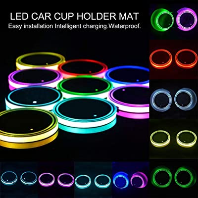 Sanpanie LED Car Cup Holder Lights 7 Colors Changing USB Charging Mat Luminescent Cup Pad Coaster Insert LED Interior Atmosphere Lamps: Automotive