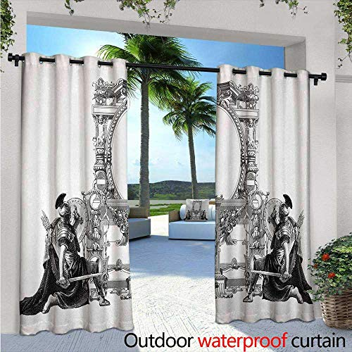 Victorian Outdoor- Free Standing Outdoor Privacy Curtain Victorian Frame with a Gladiator Warrior Roman Headpiece Ancient Design for Front Porch Covered Patio Gazebo Dock Beach Home W108 x L108 Bla