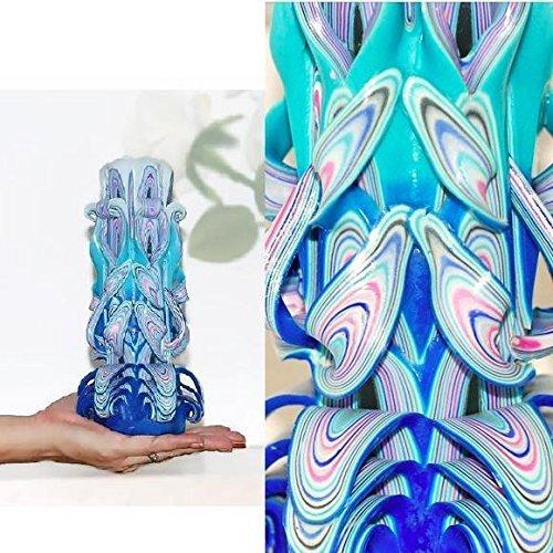 Bougie Decorative Bleue Et Blanche Bougie Sculptee Artisanale