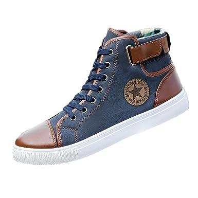 DEELIN Herren Damen Freizeitschuhe Schnürstiefeletten Schuhe Casual High  Top Canvas Schuhe (36, Blau) 8624940b1b
