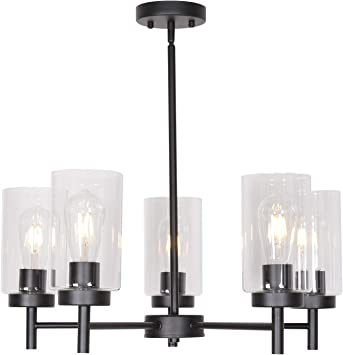 VINLUZ 5 Light Contemporary Chandeliers Black Modern Lighting Fixtures Hanging,Industrial Vintage Pendant Lights with Clear Glass Shade Flush Mount Ceiling Light for Dining Room Bedroom