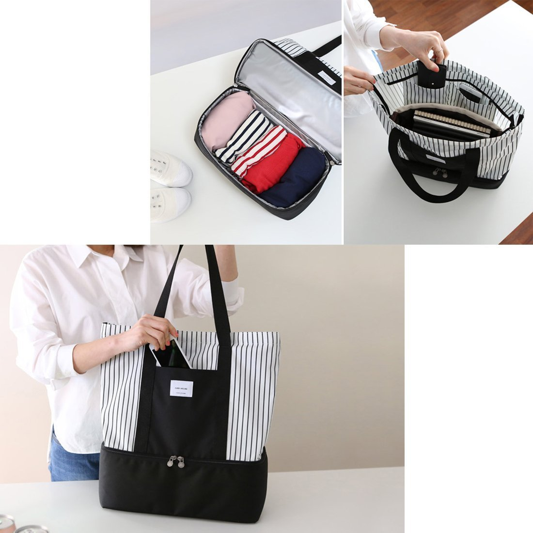 2-in-1 Large Insulated Cooler lunch Tote Bag Ladies Trendy Zippered Teacher Bag Utility Beach Tote Bag for Women by ExquisiteHome (Image #6)