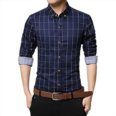 5792ea528d Men Pure Cotton Shirt Mercerized Slim Fit Long Sleeve Plaid Business  Checked Casual Dress Turn-Down Collar Button Down Suit British Stylish
