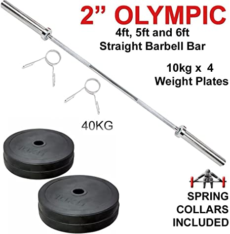 OLYMPIC STRAIGHT BARBELL Poids Barre de levage Barre Fitness Gym Entraînement Colliers