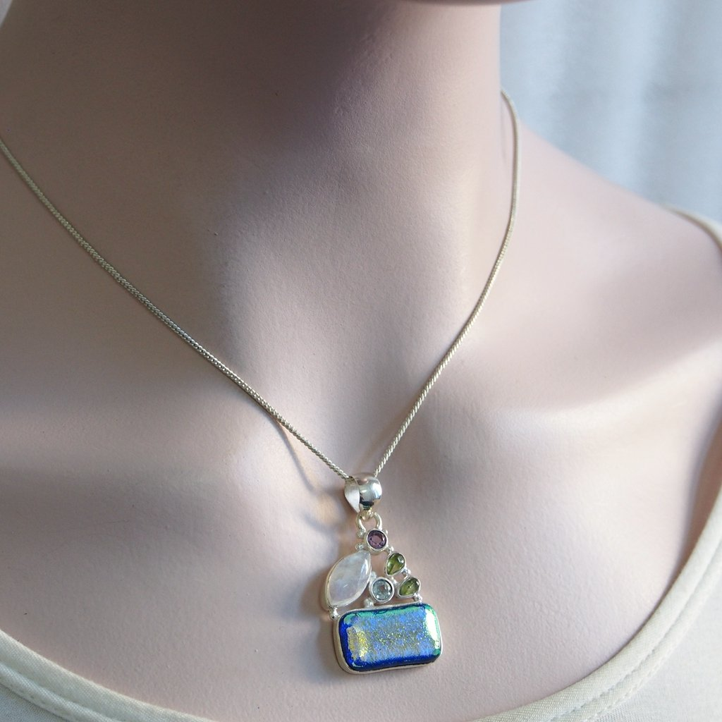 39CT Fancy Dichroic Glass Pendant Moonstone Amethyst Topaz Pendant 925 Sterling Silver Gift Wife 1.6