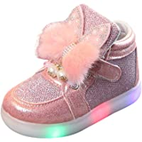 for 1-6 Years Old Baby Girls Sneakers LED Luminous Cartoon Rabbit Running Shoes Walking Shoes Toddler First Walkng Anti-Skid Light Outdoor Sports Comfy Casual Shoes