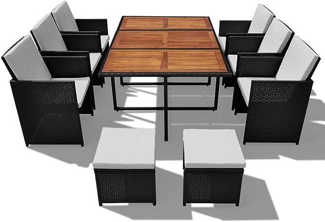 manger Festnight de jardin pcs Noir Jeu synthétique Acacia à 27 salon salle Rotin de xeBCod