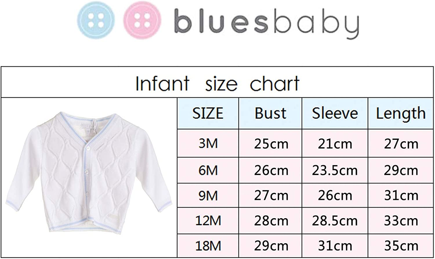 One Piece BLUES BABY Cardigan for Baby Boy 100/% Acrylic with Argyle Detail White with Blue