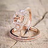Duan Gorgeous 18K Rose Gold Filled Morganite Ring Engagement Bridal Women Jewelry Set Size 6-10, US Code 8