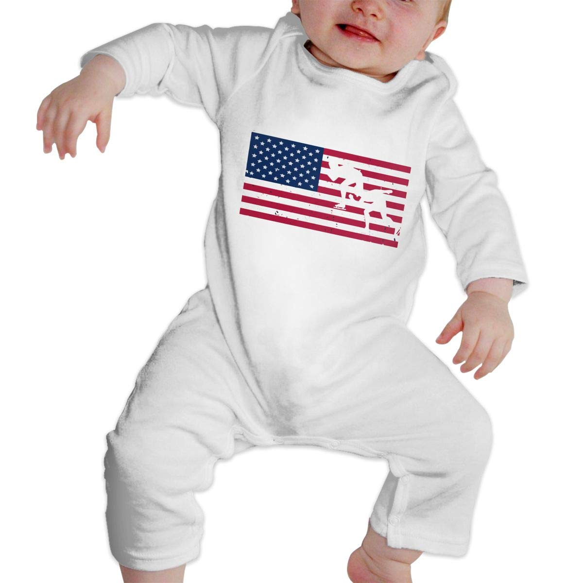 Q64 Newborn Round Collar American Speed Skating Long Sleeve Playsuit 100/% Cotton Suit 6-24 Months