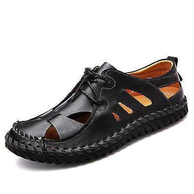 Amazon Com Upishi Leather Mens Beach Slip On Sandals Closed Toe