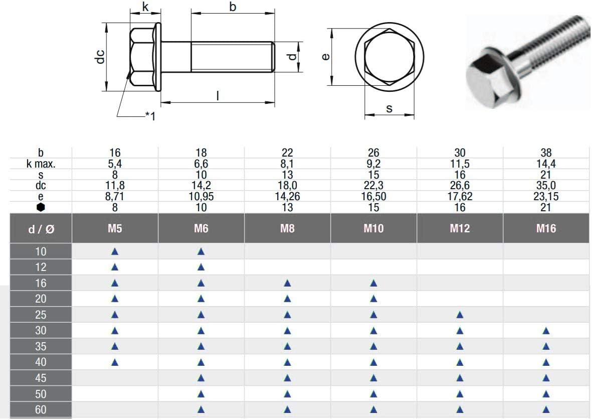 Sechskantschrauben mit Flansch Bund Edelstahl A2 DIN 6921 M8x40 x10