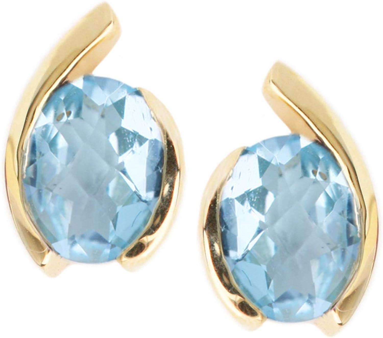 MyGold Pendientes de topacio azul de oro amarillo 585 (14 quilates) con piedras preciosas 10 mm x 7 mm Pendientes de oro pendientes de mujer Bellina O-05796-G401-BLU