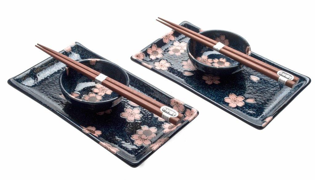 M.V. Trading MVNB-13 Japanese Sushi Set for Two, Blue Ginko