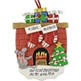 """A First Christmas as Mr. and Mrs Personalized Ornament - Calliope Designs - Handcrafted - 4.5"""" tall - Free Customization with Names, Year, Phrase - First Christmas Married or Wedding Keepsake"""