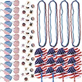 108 4th of July Patriotic American Flag Party Favors Bulk Includes 12 Shutter Shade Sunglasses 72 Fourth of July Temporary Tattoos 12 Americana Bead Necklaces and 12 Folding Fans Red Blue and White