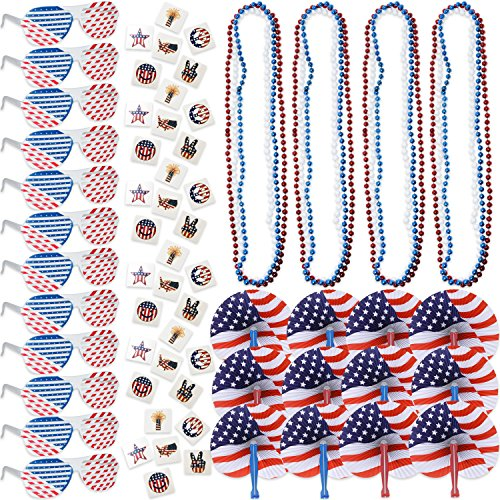 108 4th of July Patriotic American Flag Party Favors Bulk Includes 12 Shutter Shade Sunglasses 72 Fourth of July Temporary Tattoos 12 Americana Bead Necklaces and 12 Folding Fans Red Blue and White]()