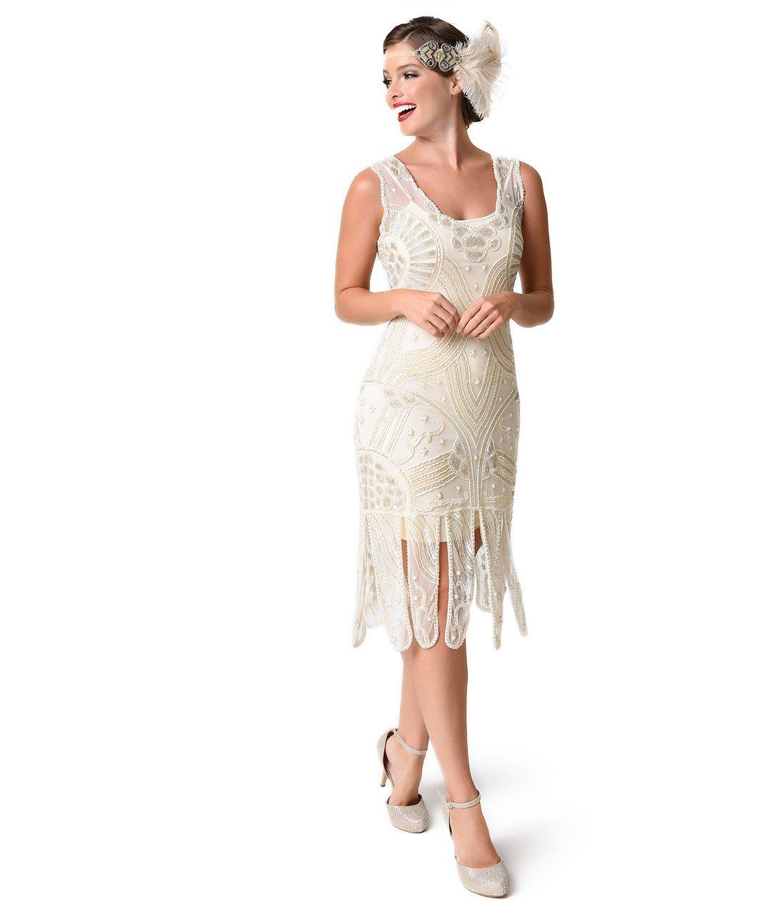 Unique Vintage 1920s Style Ivory Beaded Sinclair Flapper Dress by Unique Vintage