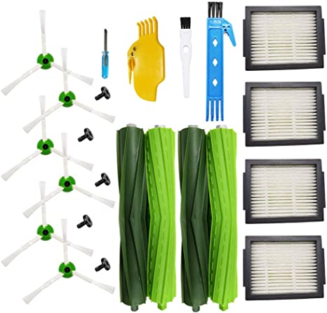 Plus E5 E6 Vacuum,Including 2 Set of Multi-Surface Rubber Brushes /& 10 High-Efficiency HEPA Filters /& 10 Edge-Sweeping Side Brushes i7 i7 Amyehouse Replacement Parts Kit for iRobot Roomba i6 i3 i3