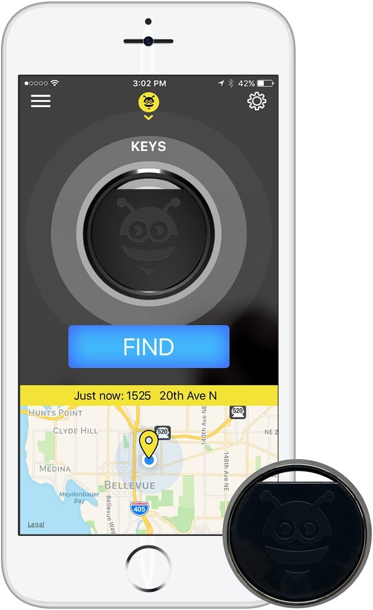 Pebblebee Key Finder Phone Finder Bluetooth Tracker with Replaceable Battery, 200 Feet Range, Amazon Alexa Integrated Skill, Stainless Steel, LED Light, Key Ring Included, Black