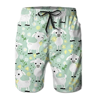 fb8078984d Amazon.com: GoSunny Men's Baby Goats On Green Summer Surfing Shorts ...