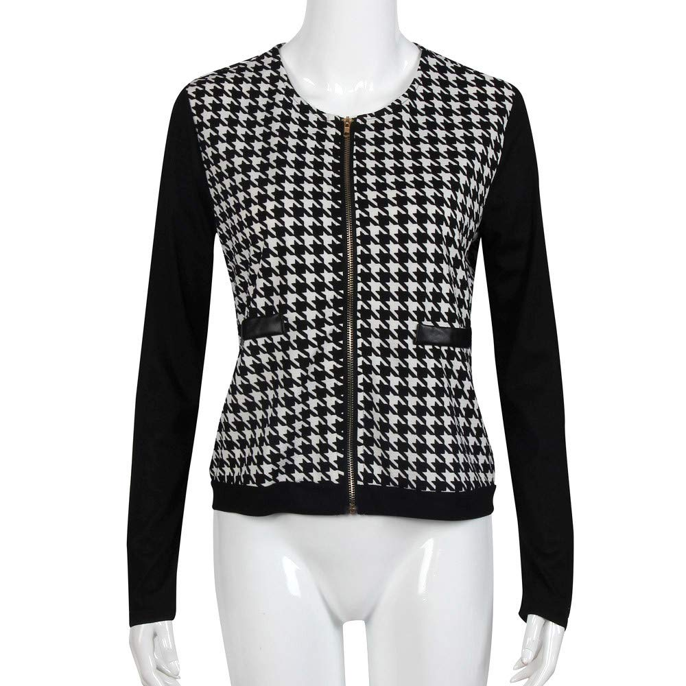 Shakers123 Women Houndstooth Long Sleeve Zippers Pockets Coat Jacket Windbreaker
