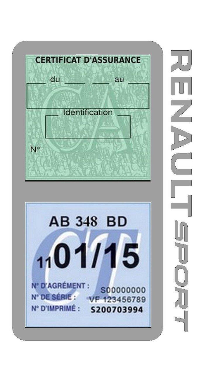 G/én/érique /Étui Double Assurance Renault Sport Noir Porte Vignette adh/ésif Voiture Stickers Auto Retro