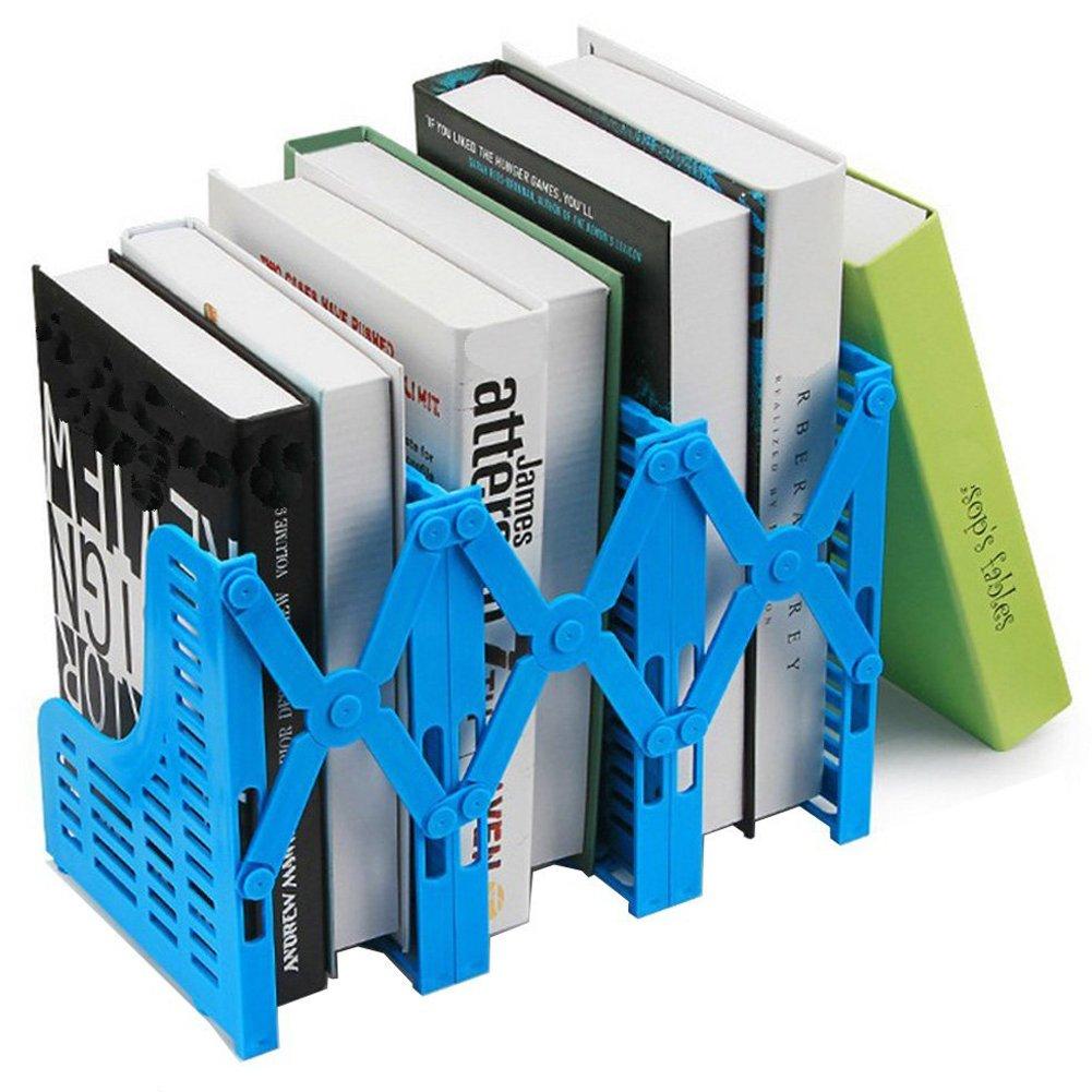 Loghot Adjustable 3 Slots Plastic Magazine/File Holders Desktop Organizer for Organization Office & Home Desktop (Blue)