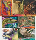 1997 The Lost World Jurassic Park 7 Card Lot with Triceratops